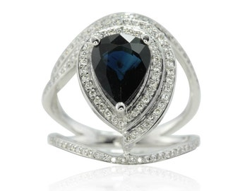 Sapphire Engagement Ring - Pear cut Blue Sapphire Egyptian Eye Ring with Diamond Halo and Split Shank in 14k White Gold - LS4746