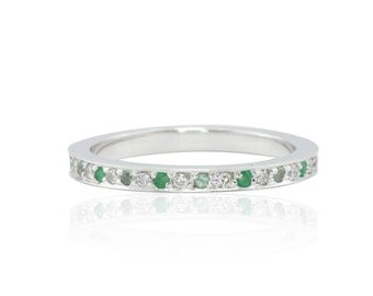 Mother's Ring with Pave set Alexandrites, Emeralds, and Diamonds in 14k Gold - Eternity Ring with April, May, and June Birthstones - LS4671