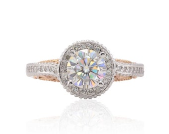 Moissanite Engagement Ring - 7mm Round Forever One Moissanite Halo Ring with Intricate Filigree Shank in Two Tone 14k Gold - LS4669