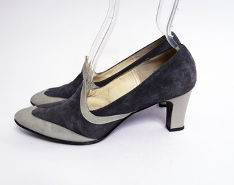 Vintage 1960s Two Tone Gray Wing Tip Pumps 9