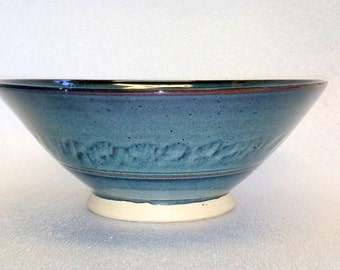 Large Blue Pottery Serving Bowl with Chattered Texture and Pedestal Style Foot