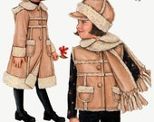 "ON SALE Daisy Kingdom Children's shearling coat or vest with hat  Simplicity 2778  Size 3-8 Hat in Three Sizes 19""-20""-21"" UNCUT"