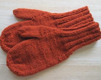 MITTENS HAND KNIT Adult Wool Blend Burnt Orange