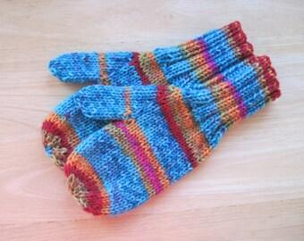 Child Medium Mittens Wool Free Kaleidoscope Stripe