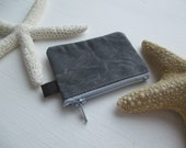 The Coin Collector a tiny coin purse by may.tree.ark mini zipper change pouch minimalist Flea Market cash fund purse Gray waxed canvas