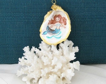 Oyster Shell Ornament, Handpainted Mermaid on Oyster Shell, Mermaid Christmas Ornament, OOAK Mermaid, Xmas Tree Ornament with Mermaid
