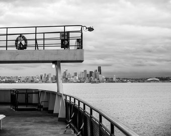 View of Seattle Skyline from Bainbridge Ferry - black and white photograph