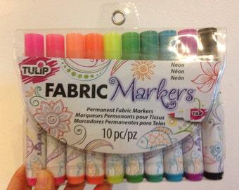 Tulip Fabric Markers Pens Neon 10 piece
