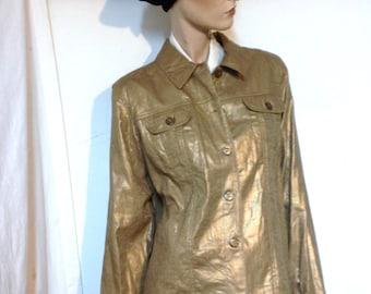 Gold Jacket Size 12 to 14 Vintage 80s Metallic Jacket Metallic CLothing