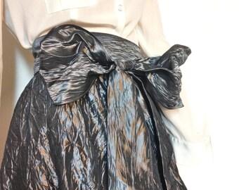 Silver Skirt Formal Long Full 80s Size M