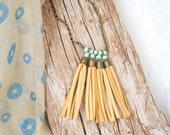 Mustard Yellow Suede Tassel Necklace, Aqua Green Beads, Boho Statement Necklace, tribal necklace, boho chick pendant, Fringe Necklace
