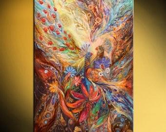 "Jewish art original hand embellished canvas print painting Swarovski crystals Hebrew words ""Three keys"" with traditional Judaica attributes"