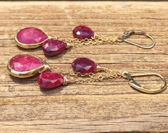JL11, Ruby Earrings, Ruby Briolettes, Cluster Earrings, Drop Earrings, Red Earrings, Bezel Set, Gold Fill, July Birthday, Boho