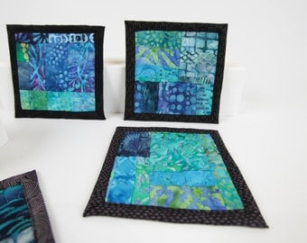 Quilted Coasters Patchwork fabric Coasters Sea Blue Ocean Themed Square Coasters One of a Kind Modern Quilted Coasters Beach House Decor Art