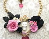 Queen Sugar Skull Pink Floral Bib Necklace