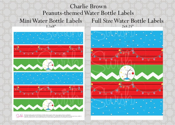 Peanuts Christmas Printable Water Bottle Labels Charlie Brown Lucy - Mini water bottle label template