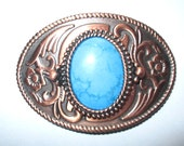 Belt Buckle Western Style Copper With Dark Turquoise dyed Howlite Stone