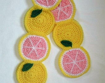 Grapefruit Scarf Crochet Pink Yellow Fruit green leaves 70 in. Scarf Pink Grapefruit food foodie scarf Ready To Ship