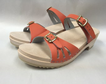 Soft orange low wood sandals