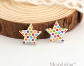 10pcs Colored Polka Dots Star Wooden Cabochons / Charm, Perfect for Earring, Necklace - HWE402H