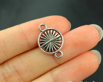 12pcs Flower Charms Connector Pendant Antique Silver Tone  2 sided - SC107