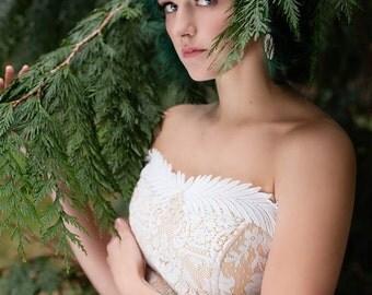 Corset Top Wedding Dress/Wedding dress from vintage lace/Alternative Wedding Dress/Vintage Lace wedding Dress