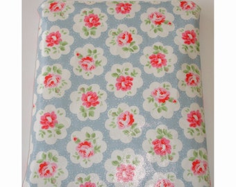 Mini iPad with Logitech Ultrathin Keyboard Case Cover Pouch Sleeve Designer Cath Kidston Provence Rose Blue PVC Oilcloth Fabric Shabby Chic