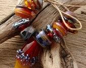 MAUNA LOA - Handmade Lampwork Bead Set - Earring Pairs - 11 Beads