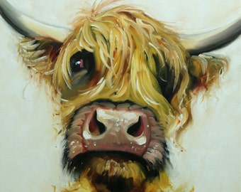 Cow painting 1152 24x24 inch animal original oil painting by Roz