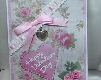 Valentine - Greeting Card - Handmade Valentine - Valentine Greeting Card - Embellished Greeting Card