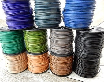 Natural Dye 2mm Leather Cords, Round Leather Cords Leather Cording, Blue, Green, Brown, Gray or Black Leather Cords, Qty 4 Yards