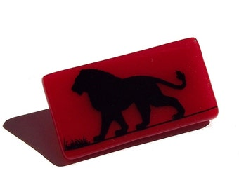 Lion Brooch Glass Custom Enamel Screen Printed Colours