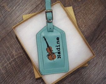 Leather Luggage Tag for a Cello Case, Custom Embroidered Personalized with Cello Design, first name or Initials, and Gift Box