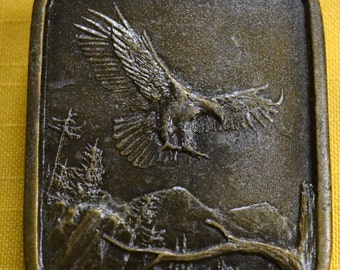 Vintage Bald Eagle Brass Belt Buckle