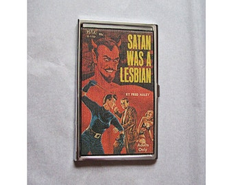 Lesbian pulp business card holder retro vintage gay pin up paperback kitsch case