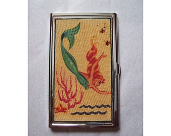 Mermaid business card case retro vintage 1950's pin up girl card holder kitsch
