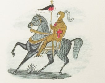 Antique Celluloid Pin Back Lithograph Design  Knight on Horse Carrying a Sheild and Lance with Flag Gold Ink Accents