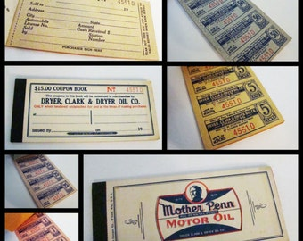 1930 Oil Company Coupon Book from Dryer, Clark & Dryer Oil Company Vintage Oil Ephemera