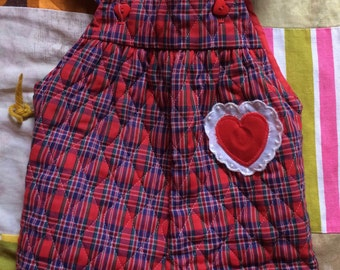 Plaid Heart Overalls 6-9 Months
