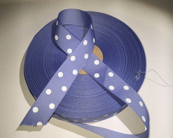 10 Yards of Lavender Grosgrain White Polka Dot Ribbon