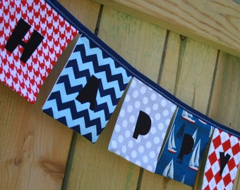 Boys HAPPY BIRTHDAY Reusable Fabric Banner - Sailboats in navy blue red gray - Eco-Friendly - boys birthday decoration, red blue birthday