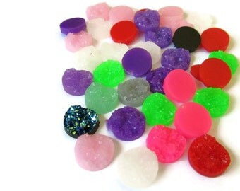 1000 Assorted Color Faux Druzy Cabochons Mostly 12mm Mixed Resin Druzy Cabochons Bulk Large Lot