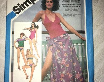 Uncut Vintage Simplicity Pattern #6390 - 1984 Swimsuit, Bikini, Pullover Top & Pareu (Wrap Around Skirt) - Size H 6, 8, 10