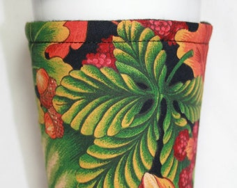 Fabric Coffee Cup Cozy / Coffee Cup Sleeve / Java Jacket - Fall Leaves Berries Acorns