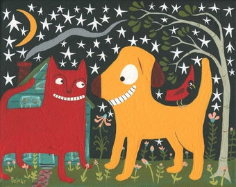 Whimsical Red Cat n Yellow Dog Art Painting - Original Folk Pet Wall Decor Artwork Cardinal Under Moon & Stars - Lab Golden Retriever