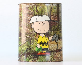Vintage Charlie Brown and Snoopy Trash Can, Peanuts, 1978 Cheinco