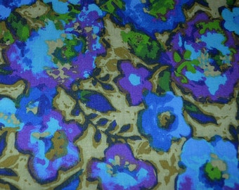 Vintage 60s 70s Mod ABSTRACT FLOWER POWER curtain panel fabric 102 x 78 - blue purple green yards