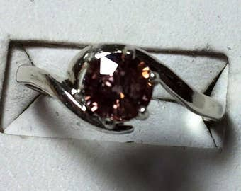 Pinkish peach spinel silver ring