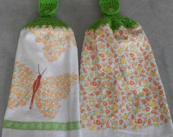 Crocheted Top Butterfly and Flowers Kitchen Towel Set - Butterfly Granny Kitchen Towels - Flowers and Butterfly Hand Towel Set