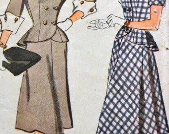 Vintage 1940s Sewing Pattern Simplicity 1866 Misses' Two Piece Dress  Bust 30 Inches Complete